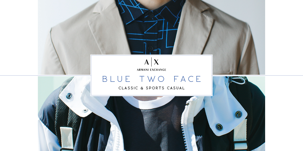 A|X ARMANI EXCHANGE BLUE TWO FACE classic & sports casual