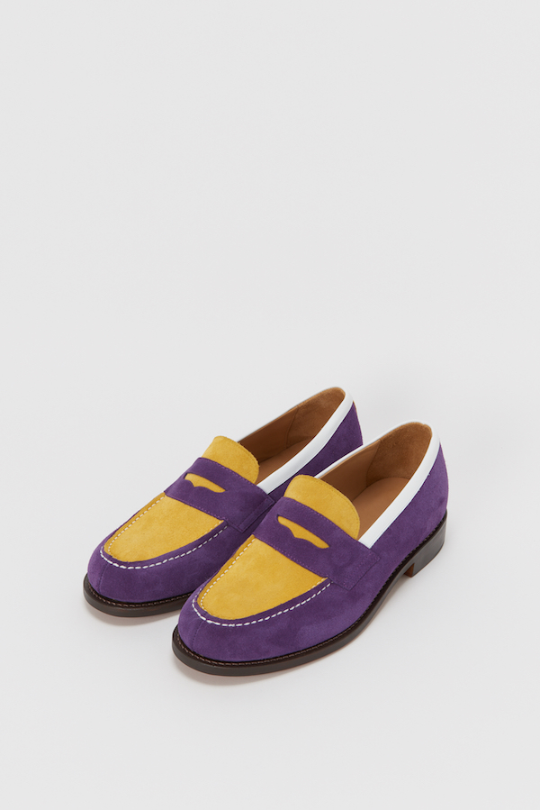 1_typical color exception loafer_purple yellow_front
